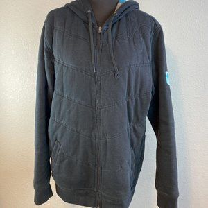 Hurley Quilted Jacket L Black Full Zip Hooded
